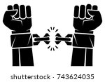 two hands clenched into a fist... | Shutterstock .eps vector #743624035