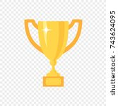 golden trophy cup  vector icon... | Shutterstock .eps vector #743624095
