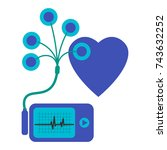 daily monitoring of ecg. holter ... | Shutterstock .eps vector #743632252