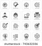 simple set of engineering flat... | Shutterstock .eps vector #743632336
