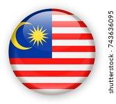 malaysia flag vector round icon ... | Shutterstock .eps vector #743636095