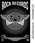 rock records badge logo...   Shutterstock .eps vector #743648725
