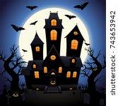 vector illustration  a horror... | Shutterstock .eps vector #743653942