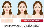 wrinkles skin of woman to clear ... | Shutterstock .eps vector #743658862