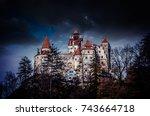 bran castle  transylvania ... | Shutterstock . vector #743664718