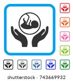embryo care hands icon. flat...