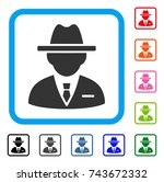 agent icon. flat gray pictogram ... | Shutterstock .eps vector #743672332