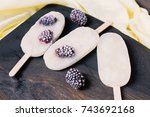 ice cream with blackberries on... | Shutterstock . vector #743692168