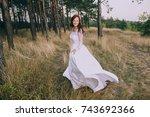 beautiful smiling bride... | Shutterstock . vector #743692366