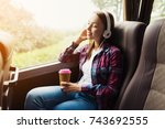 the woman on the passenger seat ... | Shutterstock . vector #743692555