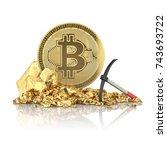 bitcoin standing on a golden... | Shutterstock . vector #743693722