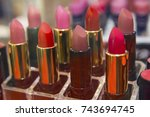 lipstick on the shop window... | Shutterstock . vector #743694745