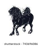 a huge black horse. drawing... | Shutterstock .eps vector #743696086