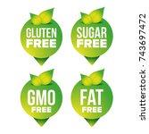 gluten  sugar  fat  gmo free... | Shutterstock .eps vector #743697472