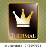 gold shiny badge with crown... | Shutterstock .eps vector #743697535