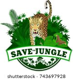 vector jungle emblem with... | Shutterstock .eps vector #743697928