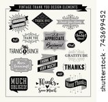 set of thank you card design... | Shutterstock .eps vector #743699452