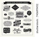 set of thank you card design... | Shutterstock .eps vector #743699452