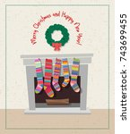 cute holiday card with set of...   Shutterstock .eps vector #743699455