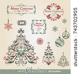 collection of ornamental... | Shutterstock .eps vector #743702905