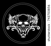 skull for tattoos and...   Shutterstock .eps vector #743703856