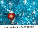 christmas decoration on... | Shutterstock . vector #743710306