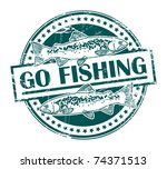 grunge rubber stamp with fish...   Shutterstock .eps vector #74371513