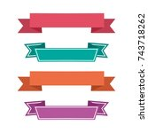 colorful ribbon icons. ribbons... | Shutterstock .eps vector #743718262