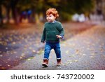 cute redhead toddler baby boy... | Shutterstock . vector #743720002