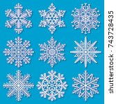 set of white highly detailed... | Shutterstock .eps vector #743728435
