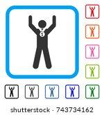 winner hands up icon. flat gray ...