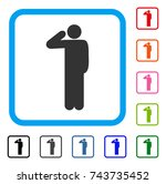salute pose icon. flat gray... | Shutterstock .eps vector #743735452