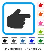 pointer finger icon. flat grey...