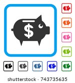 piggy bank icon. flat gray...