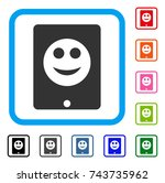 pad smile icon. flat gray...