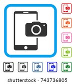 mobile camera icon. flat gray...