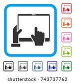 hand points pda icon. flat gray ... | Shutterstock .eps vector #743737762