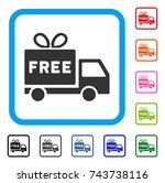 free shipment icon. flat gray... | Shutterstock .eps vector #743738116