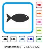 fish icon. flat gray pictogram...