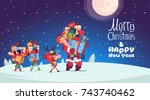 happy new year card with elves  ... | Shutterstock .eps vector #743740462