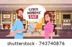 cyber monday sale chat bubble... | Shutterstock .eps vector #743740876