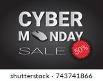 cyber monday super sale poster... | Shutterstock .eps vector #743741866