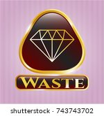 shiny emblem with diamond icon ... | Shutterstock .eps vector #743743702