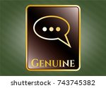 shiny badge with speech bubble ... | Shutterstock .eps vector #743745382