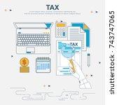 vector flat line design concept ... | Shutterstock .eps vector #743747065