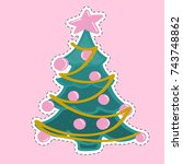 colorful cute greeting card... | Shutterstock .eps vector #743748862