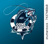 fishing logo. bass fish with... | Shutterstock .eps vector #743748868