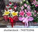 two flowers bouquet beautiful... | Shutterstock . vector #743751046