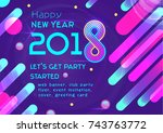 vector happy new year banner... | Shutterstock .eps vector #743763772