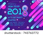 vector happy new year banner... | Shutterstock .eps vector #743763772